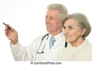 Elderly doctor with a patient