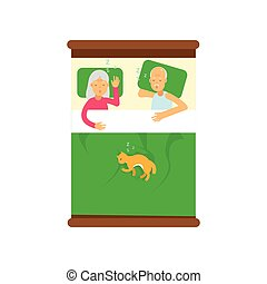 Elderly family couple sleeping on the bed with their cat, view from above cartoon vector illustration