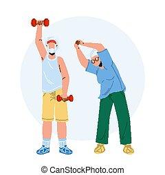 Elderly Fitness Exercising Senior Couple Vector Illustration