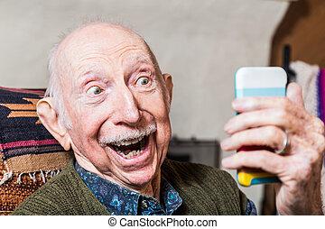 Elderly Gentleman with Smartphone