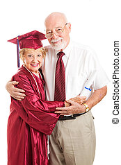 Elderly Graduate with Proud Husband