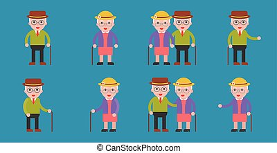 elderly grandma and grandpa couple icon, flat design