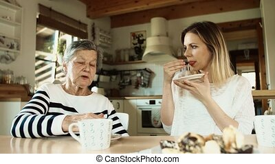 Elderly grandmother with an adult granddaughter eating...