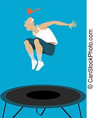 Elderly guy on a trampoline