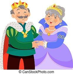 elderly king and queen hugging happily
