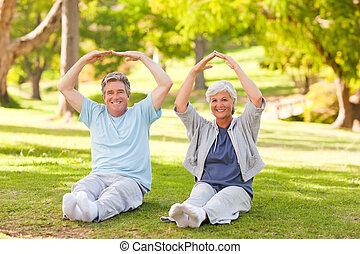 elderly kopplar ihop, gör, deras, sträcker, i parken