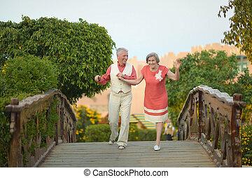 elderly kopplar ihop, havande kul, på, den, gå
