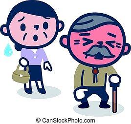 elderly kopplar ihop, med, värme stryk