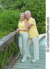 elderly kopplar ihop, på, den, gå