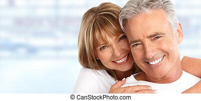 elderly kopplar ihop, vit, teeth.
