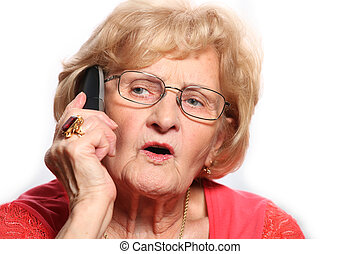 Elderly lady on the phone