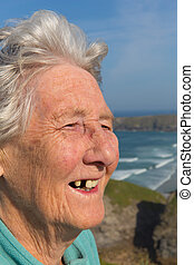 Elderly lady pensioner tooth missin