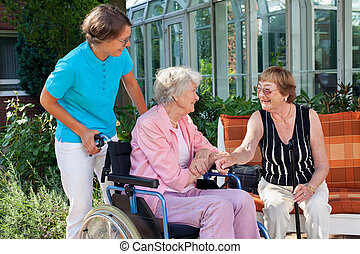 Elderly lady with a carer talking to a friend
