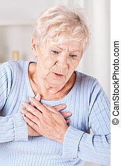 Elderly lady with chest pain - Elderly lady with strong...