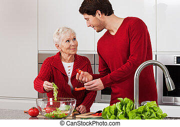 Elderly lady with her son