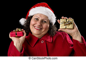 Elderly Lady with Wrapped Red and Golden Presents -...