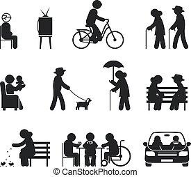 Elderly leisure activities. Leisure elderly people, couple...