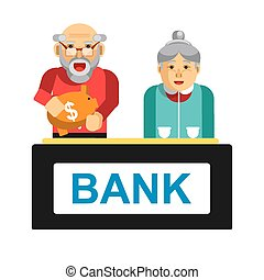 Elderly making deposit in bank. Grandparents with bag of...