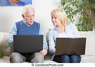 Elderly man and laptop