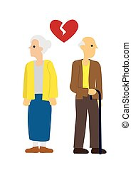 Elderly Man and woman couple with broken heart. Concept of divorce, disagreement or separation