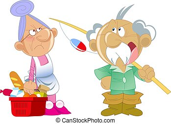 Elderly man and woman do household chores