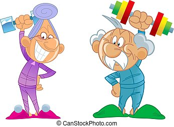 Elderly man and woman play sports