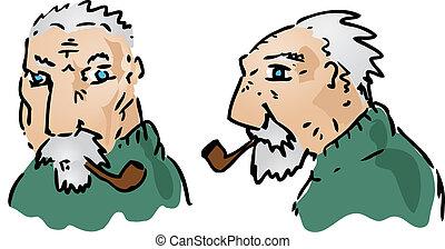 Elderly man - Cartoon illustration of an elderly grey-haired...
