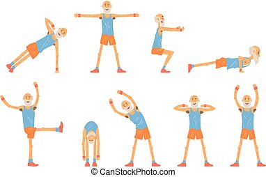 Elderly man character exercising set, healthy active lifestyle retiree, elder fitness vector Illustrations