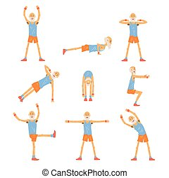 Elderly man character exercising set, healthy active...