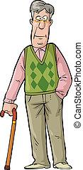 Elderly man - Happy elderly man with a cane vector...
