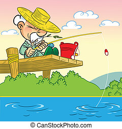 The illustration shows an elderly man in a hat sitting on a bridge and engaged in fishing with a fishing rod.