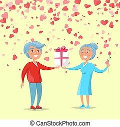 Elderly Man Giving Big Gift Box to Woman Vector