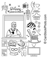 Elderly man. Happy elderly man at In the apartment window and things for a cozy pensioner life. Home appliances and rocking chairs, slippers and medicines, books and crosswords, Contour