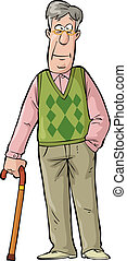 Elderly man - Happy elderly man with a cane vector...