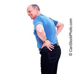 Elderly man having a Back pain. Isolated on white background.