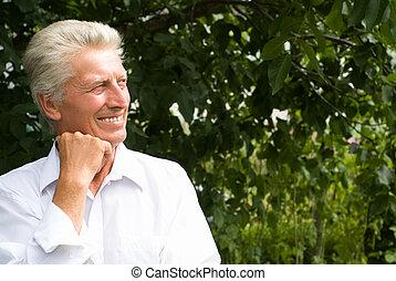 elderly man in a park