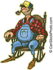 Elderly Man In Rocking Chair - A Vector Cartoon of an...
