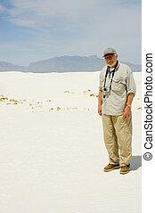 Elderly man in the dunes