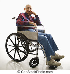 Elderly man in wheelchair.