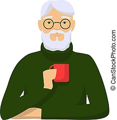 Elderly man is drinking coffee. Gray haired male character green sweater with red cup in hand enjoying hot drink vector.