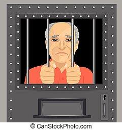elderly man looking from behind bars - elderly man looking...