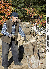 elderly man lumberjack
