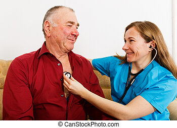 Elderly man on cardiology examination