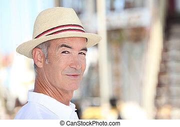 Elderly man on holiday