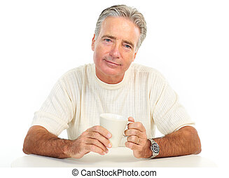 Elderly man - Smiling elderly man with a cup. Isolated over...