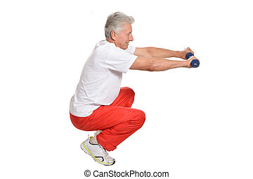 Elderly man playing sports