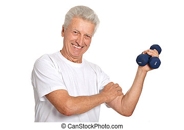 Elderly man playing sports on a light background