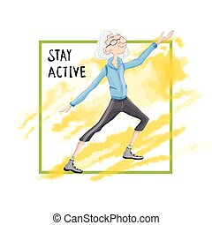 Elderly man practicing Taiji or Wushu gymnastics in nature. Active lifestyle and sport activities in old age. Template for poster or flyer for a sport club or sporting event. Vector illustration.