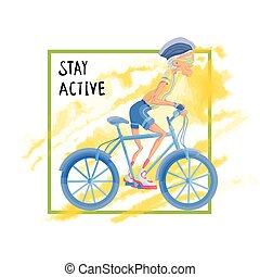Elderly man rides a Bicycle. Active lifestyle and sport activities in old age. Template for poster or flyer for a sport club or sporting event. Vector illustration.
