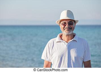 Elderly Man Sea Portrait